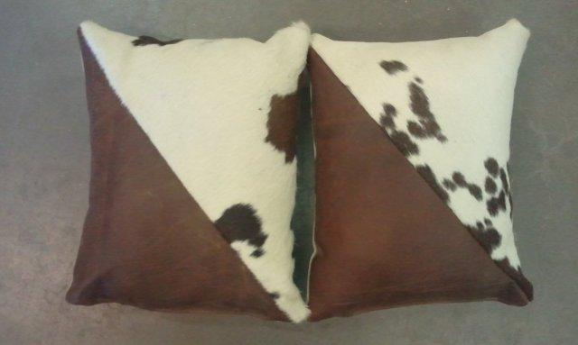 Set Of 2 Leather & Hide Throw Pillow