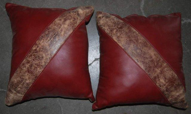 Set of 2 Red Leather & Hide Throw Pillows