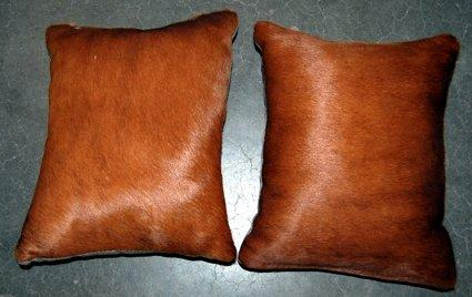Set Of 2 Dark Leather Throw Pillows