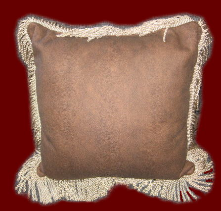 Leather with Fringe Throw Pillow