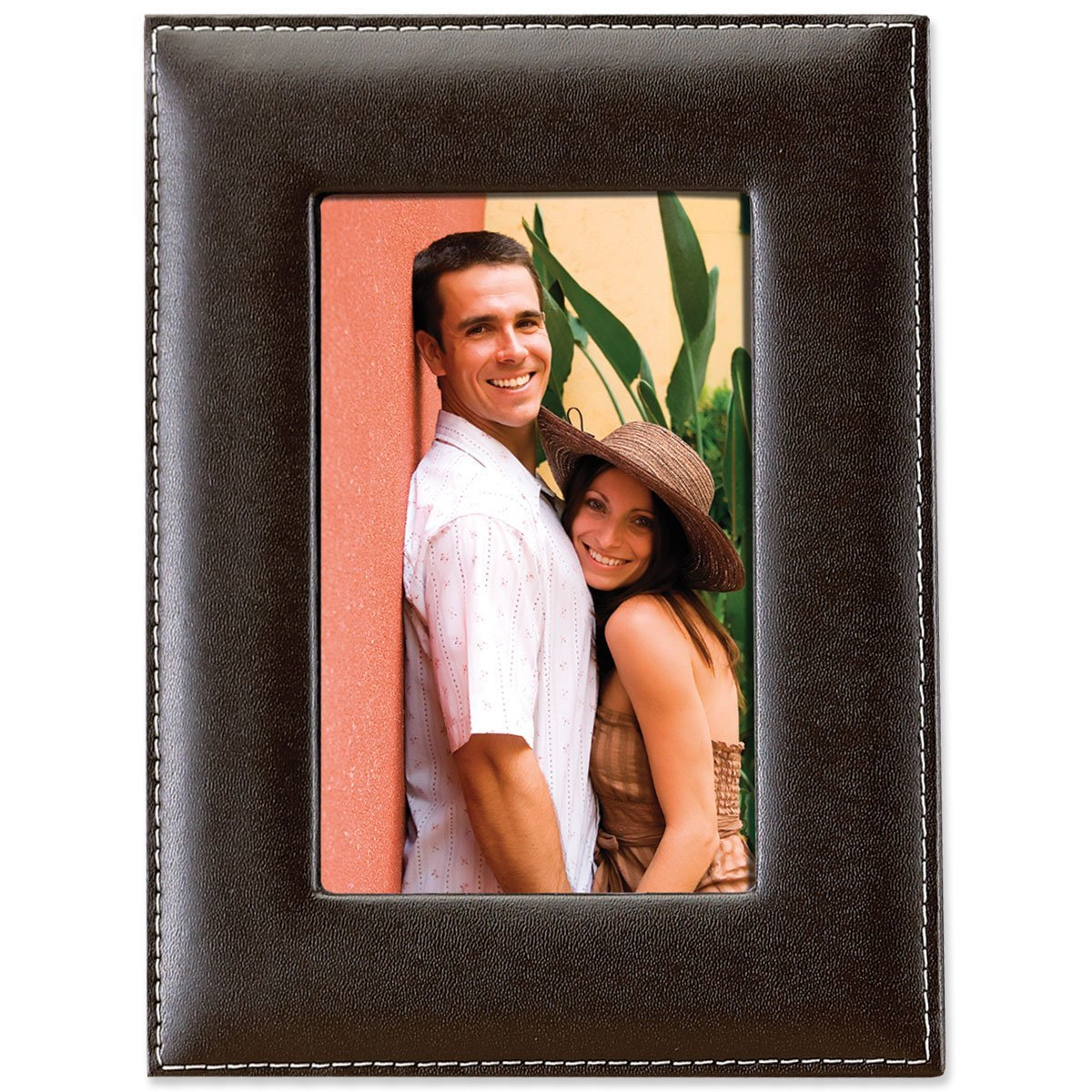 5X7 Saddle Stitched Bonded Leather Picture Frame