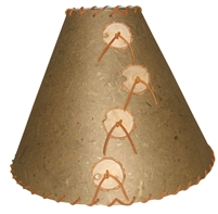 Large Leather Lamp Shade Shown In Banana Taupe Color choice